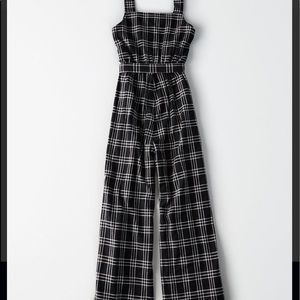 American Eagle Outfitters Other - Black plaid tie front jumpsuit